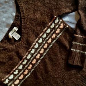 Fuzzy Brown Vintage Sweater Scoop V Neck Hearts